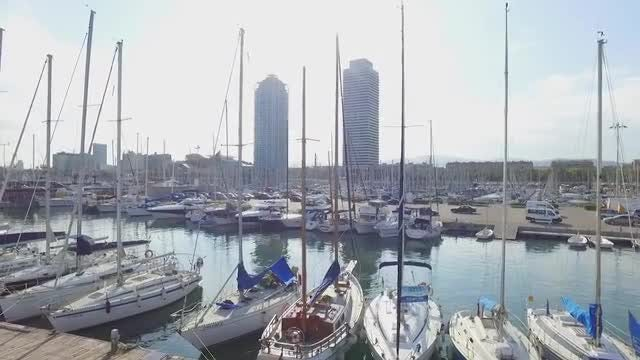 Rows Of Yachts In Spain: Stock Video