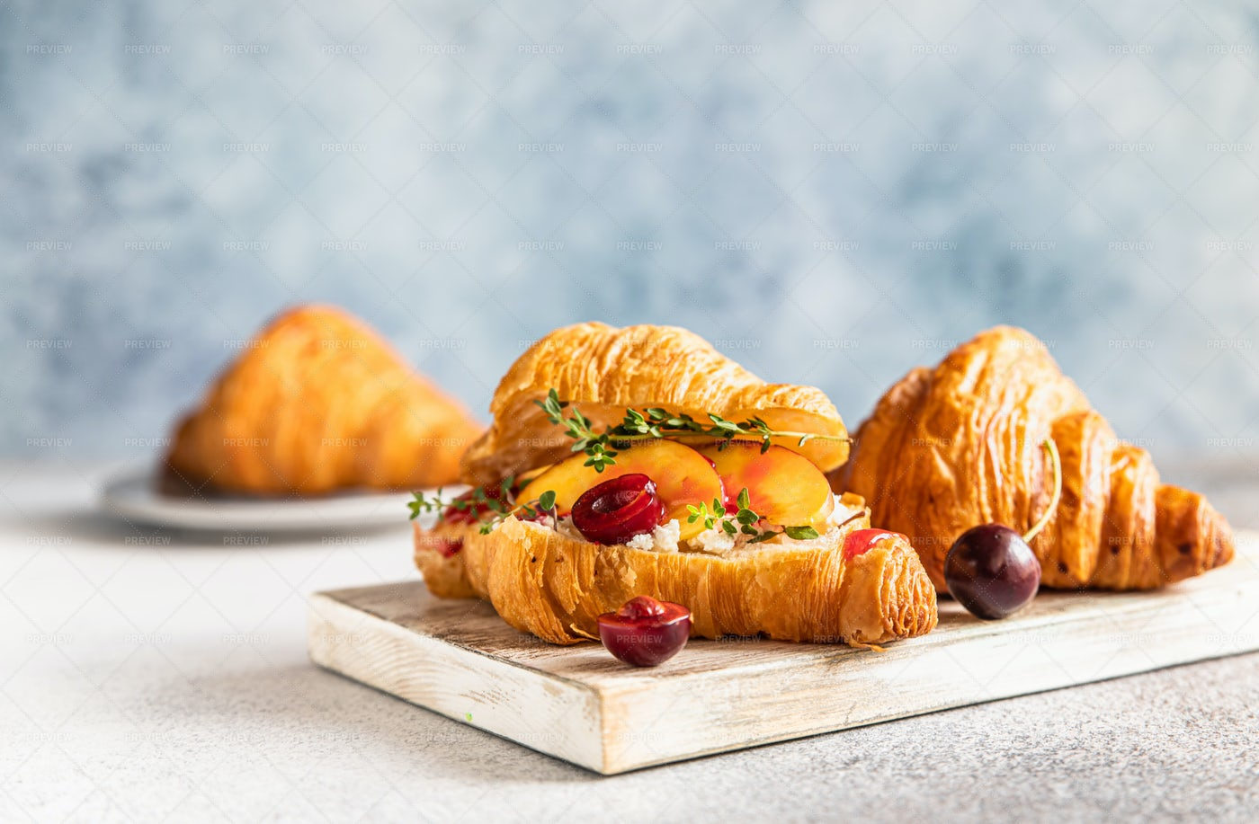 Croissant With Fruit And Berries: Stock Photos