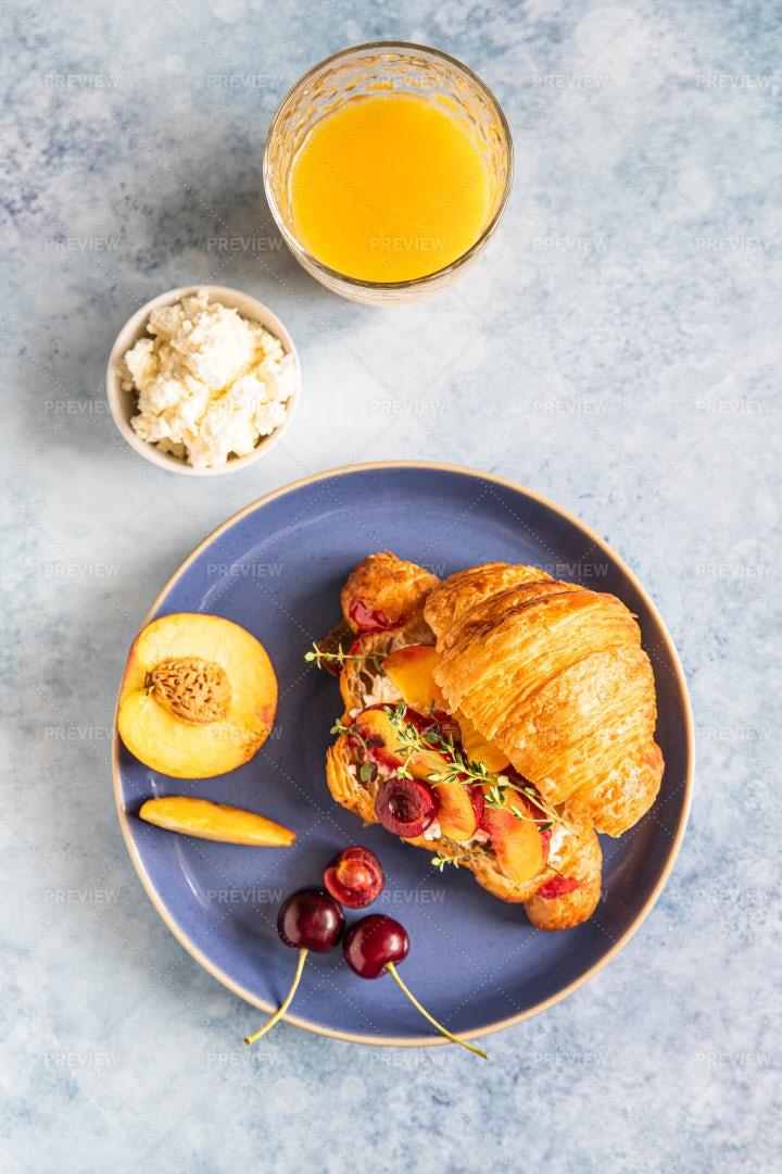 Fresh Croissant For Breakfast: Stock Photos