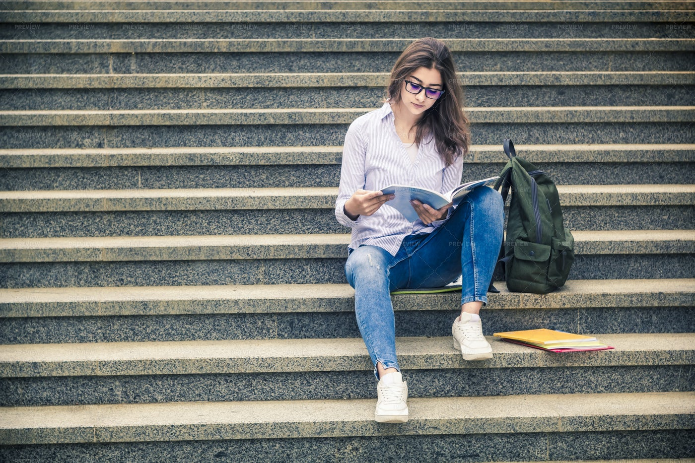 Student Sit On  Steps: Stock Photos
