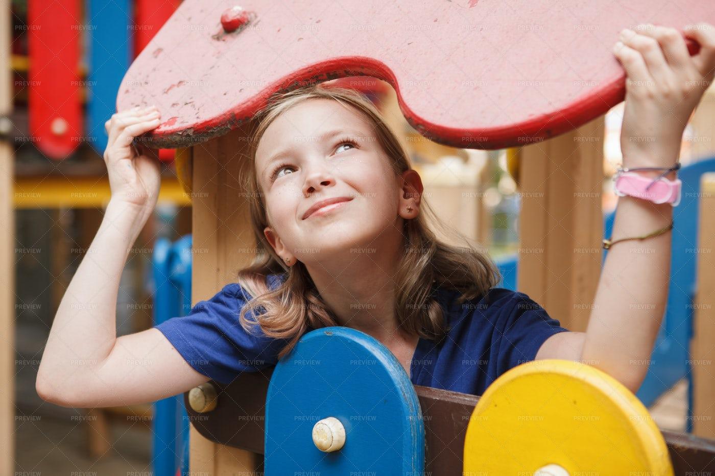 Happy Kid On Playground: Stock Photos