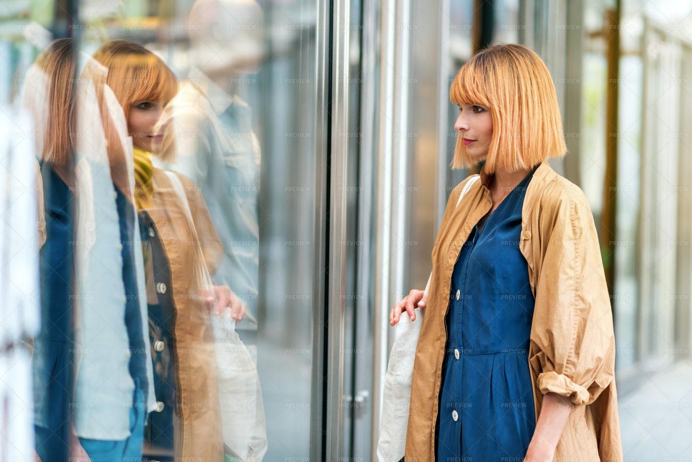 Stylish Woman Window Shopping: Stock Photos