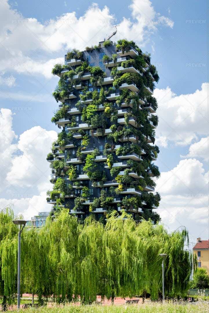 Milan Vertical Forest Apartment Tower: Stock Photos