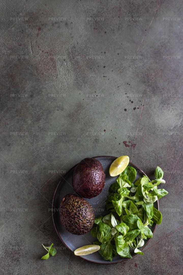 Avocado On Green Background: Stock Photos