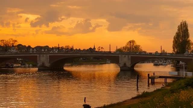 Hampton Court Bridge In London, UK: Stock Video