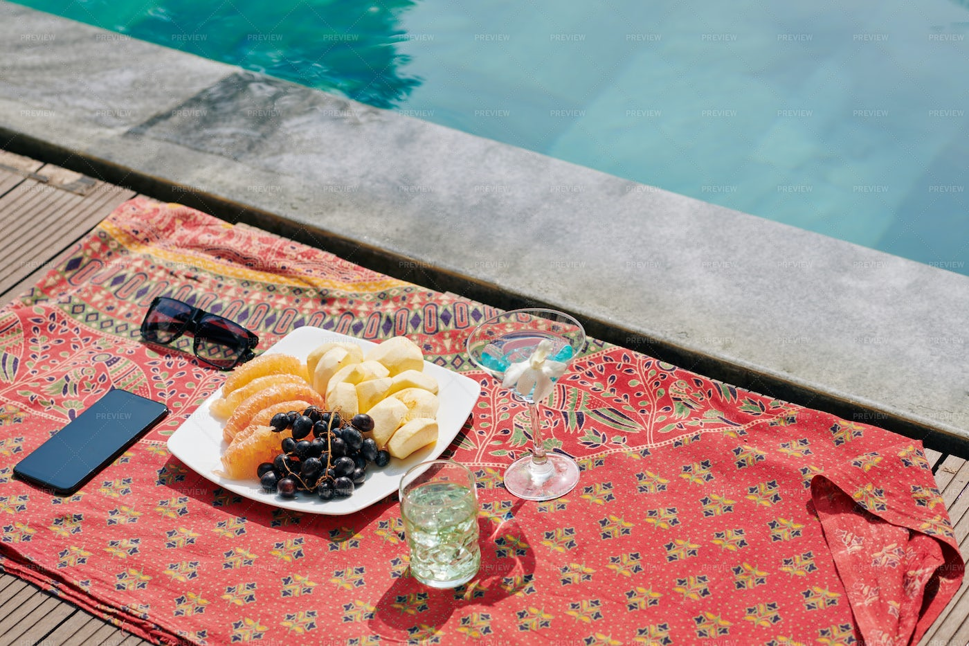 Fruits And Cocktails By Swimming Pool: Stock Photos