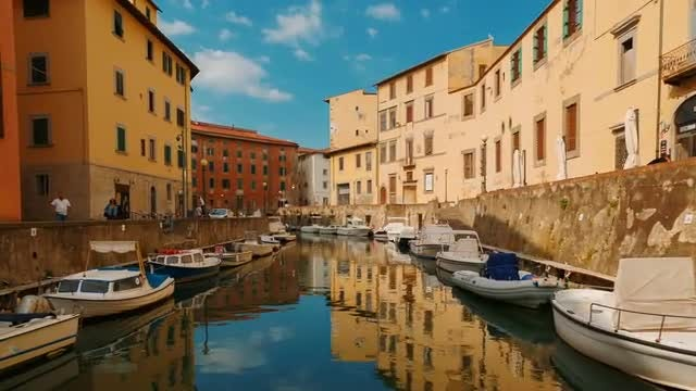 Venetian Quarter In Livorno, Italy: Stock Video