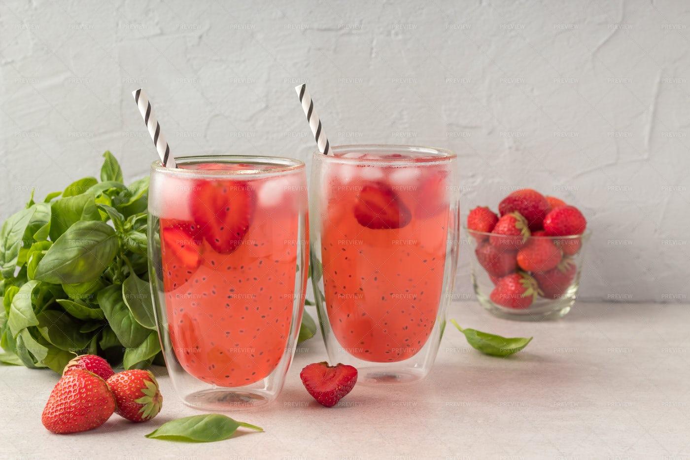 Basil Seeds Strawberry Drink: Stock Photos