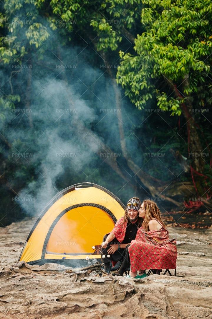 Making Smores When Camping: Stock Photos