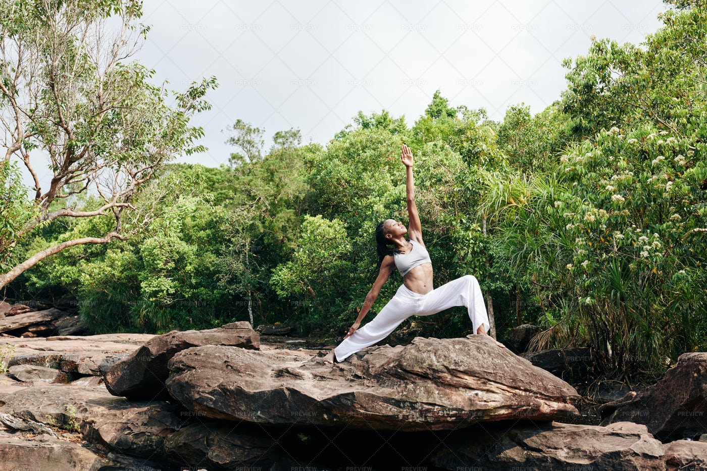 Practicing Yoga In Nature: Stock Photos