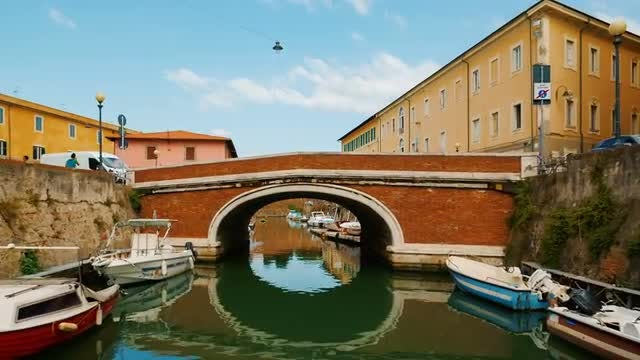 The Livorno Canals, Italy: Stock Video