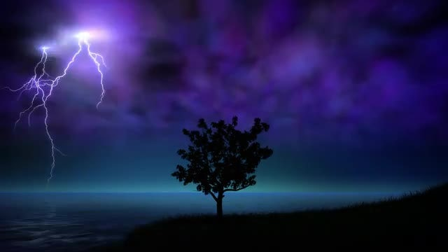 Night Storm With Lightning Loop: Stock Motion Graphics