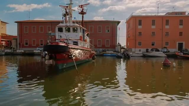 Tracking Shot of Porto Vecchio in Livorno, Italy: Stock Video