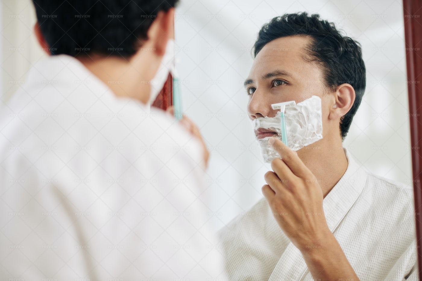 Man Shaving At Bathroom Mirror: Stock Photos