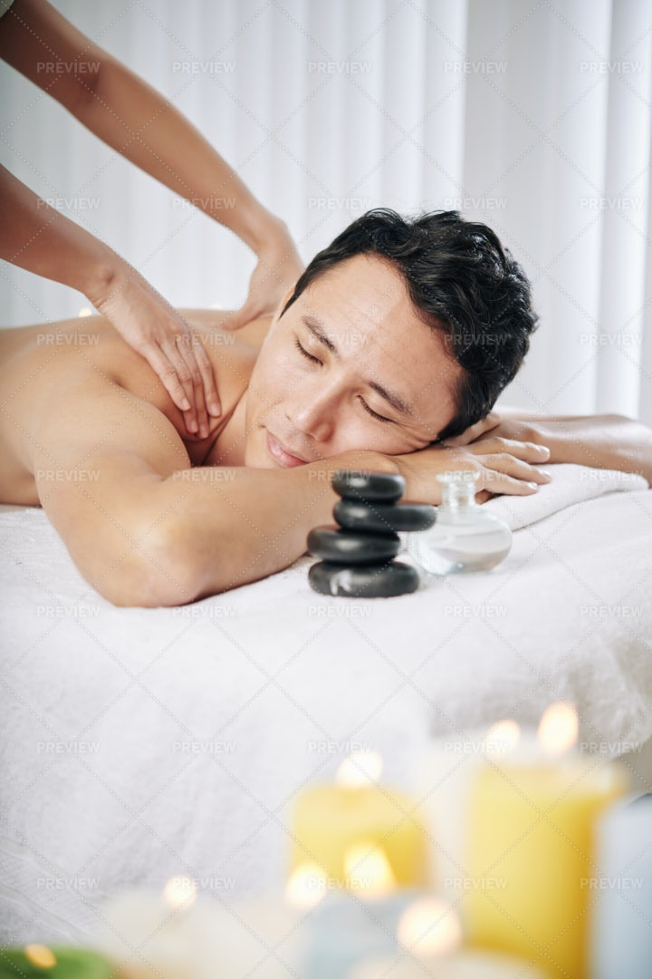 Relaxing Back Massage: Stock Photos