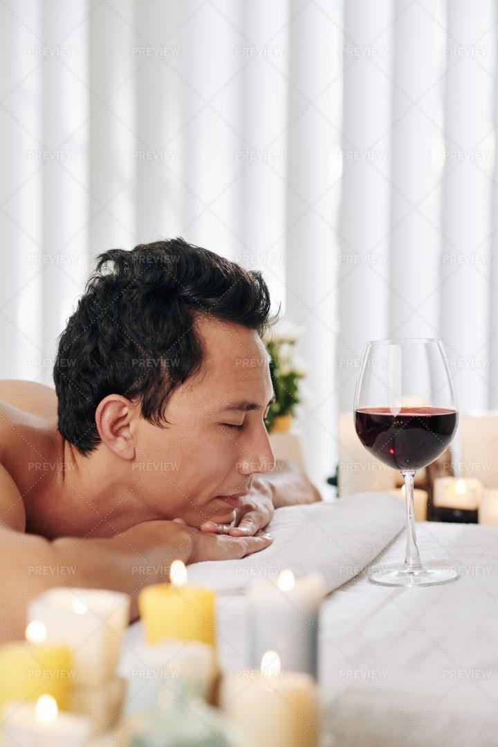 Man Enjoying Spa Day: Stock Photos