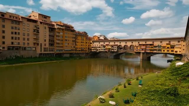 Ponte Vecchio Arno River In Florence, Italy: Stock Video