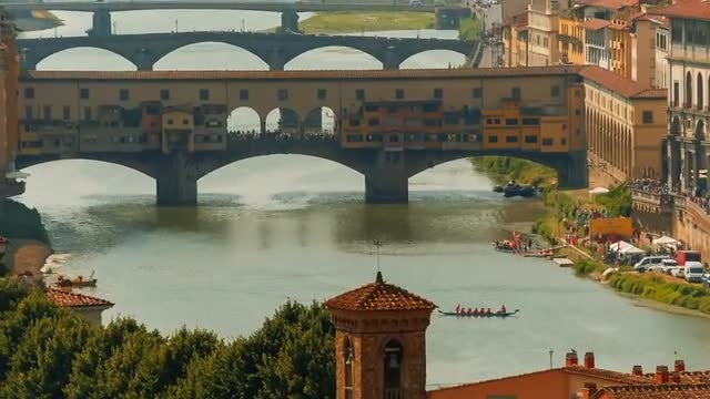 Florence Bridges And Arno River: Stock Video