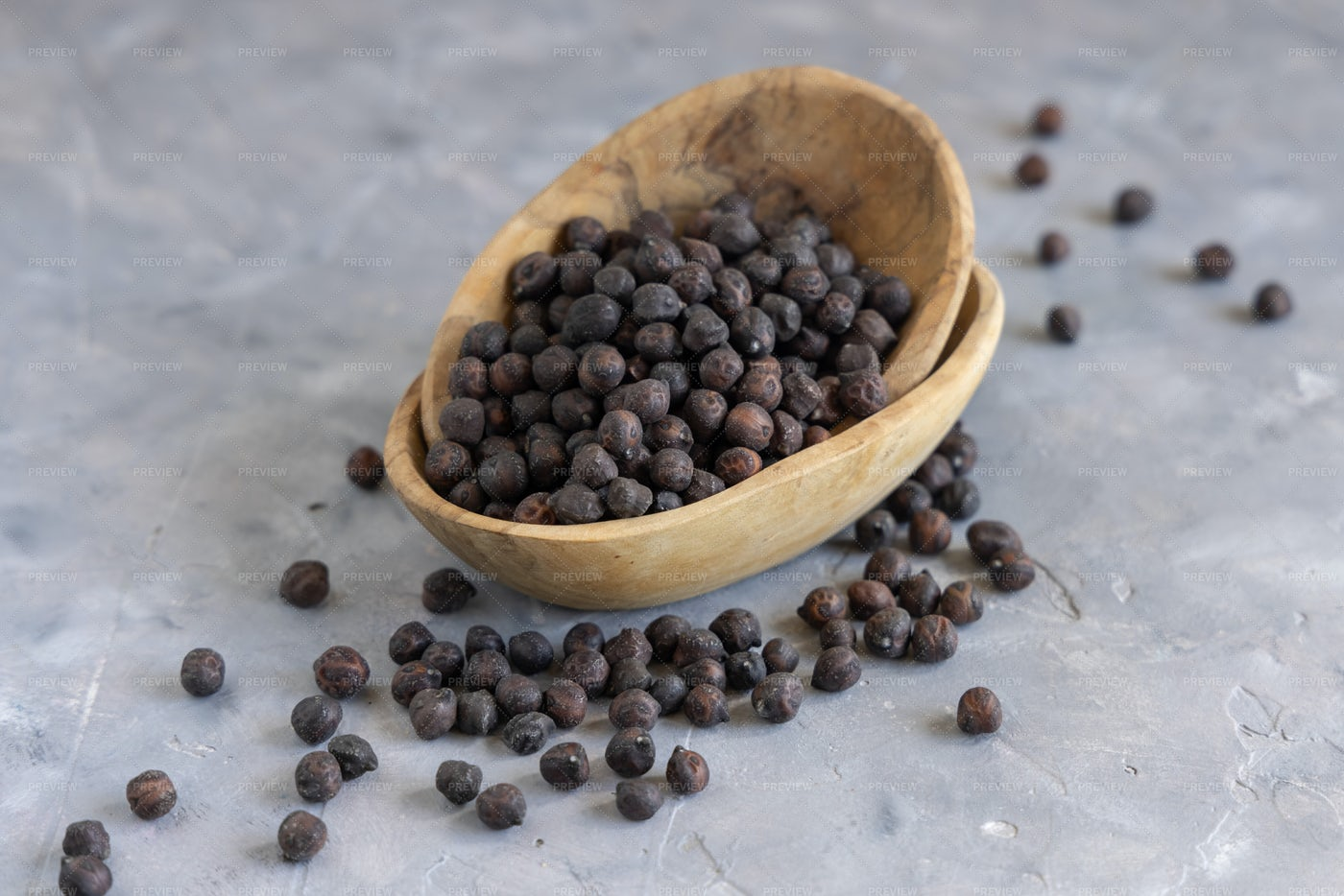 Wooden Bowl Of Black Chickpea: Stock Photos