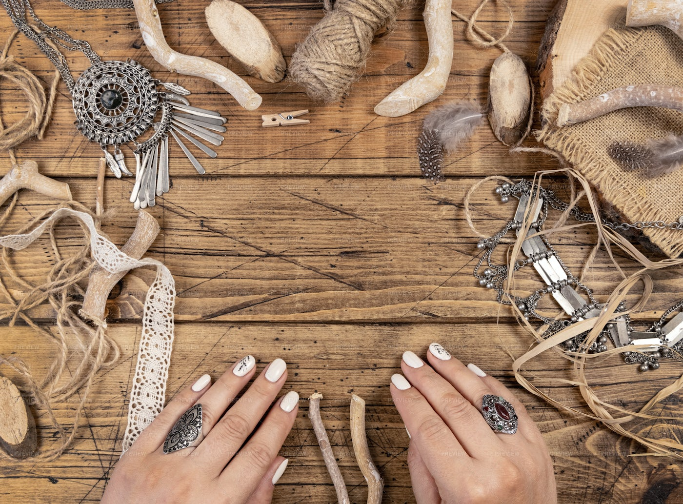 Woman's Hands And Bohemian Decorations: Stock Photos