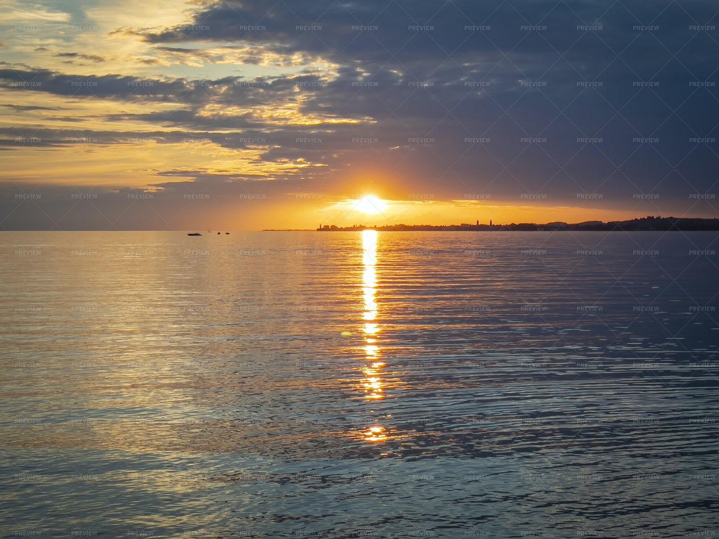 Sunset At Lake Constance: Stock Photos