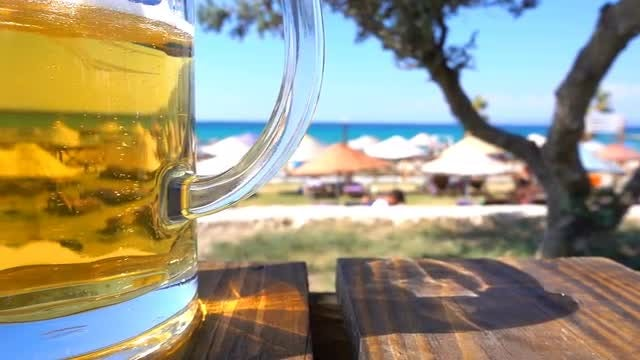 Beer And Seaside Holiday Concept: Stock Video