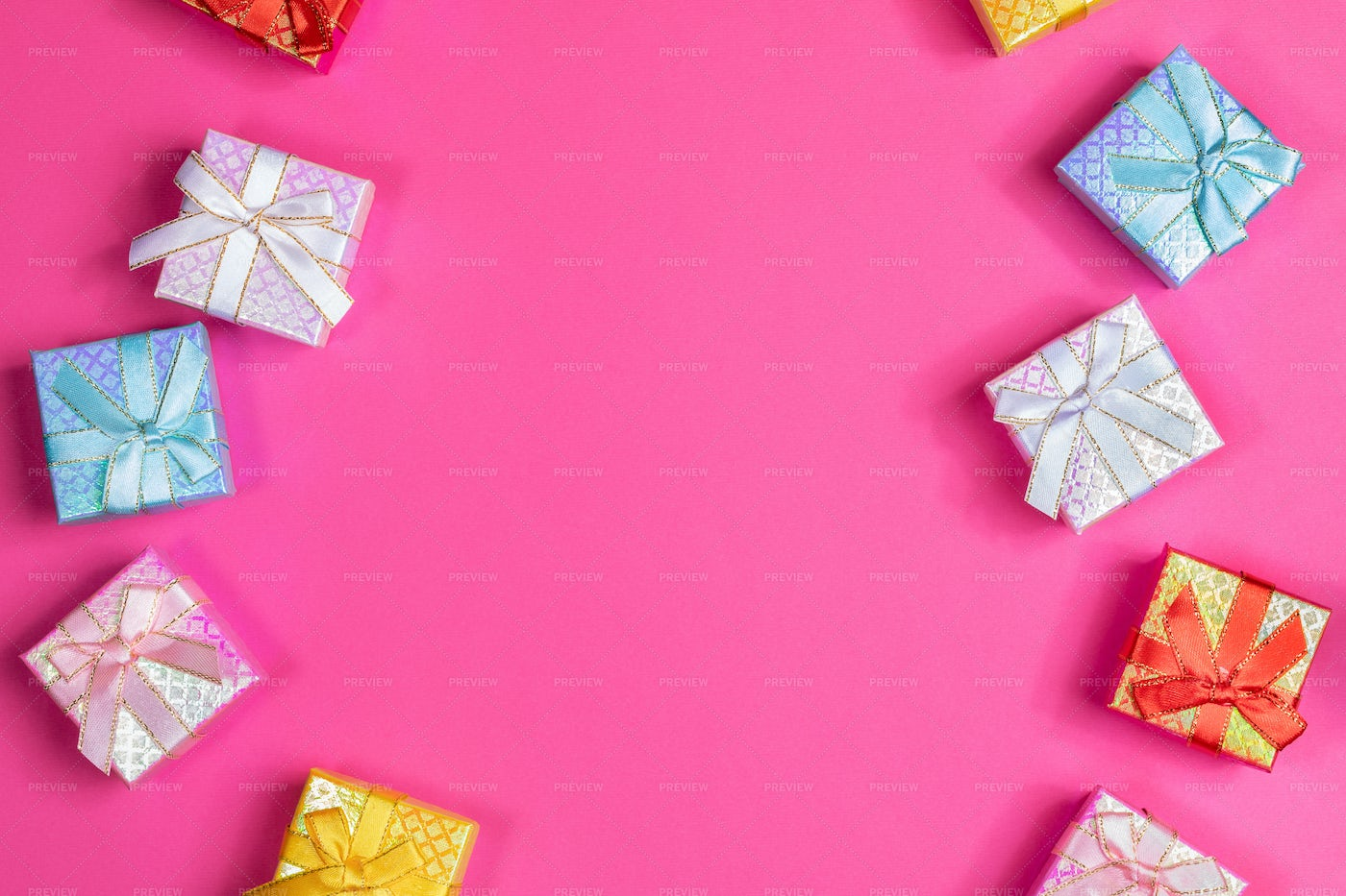 Multicolored Shiny Gift Boxes: Stock Photos