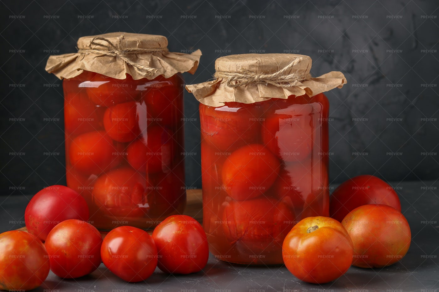 Homemade Salted Tomatoes In Jars: Stock Photos