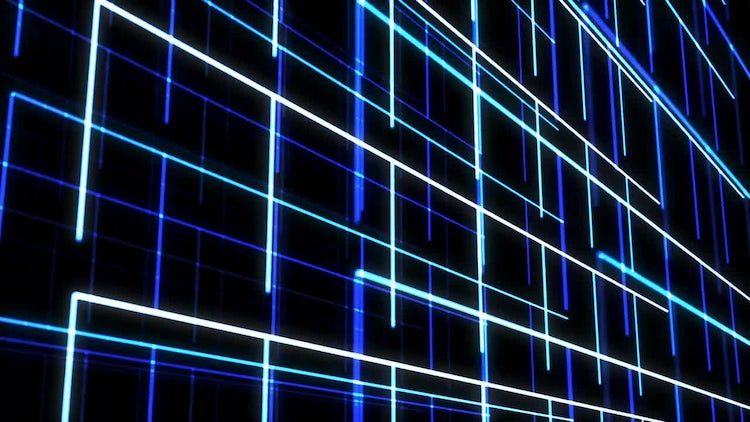 Neon 3D Grid Formation: Stock Motion Graphics