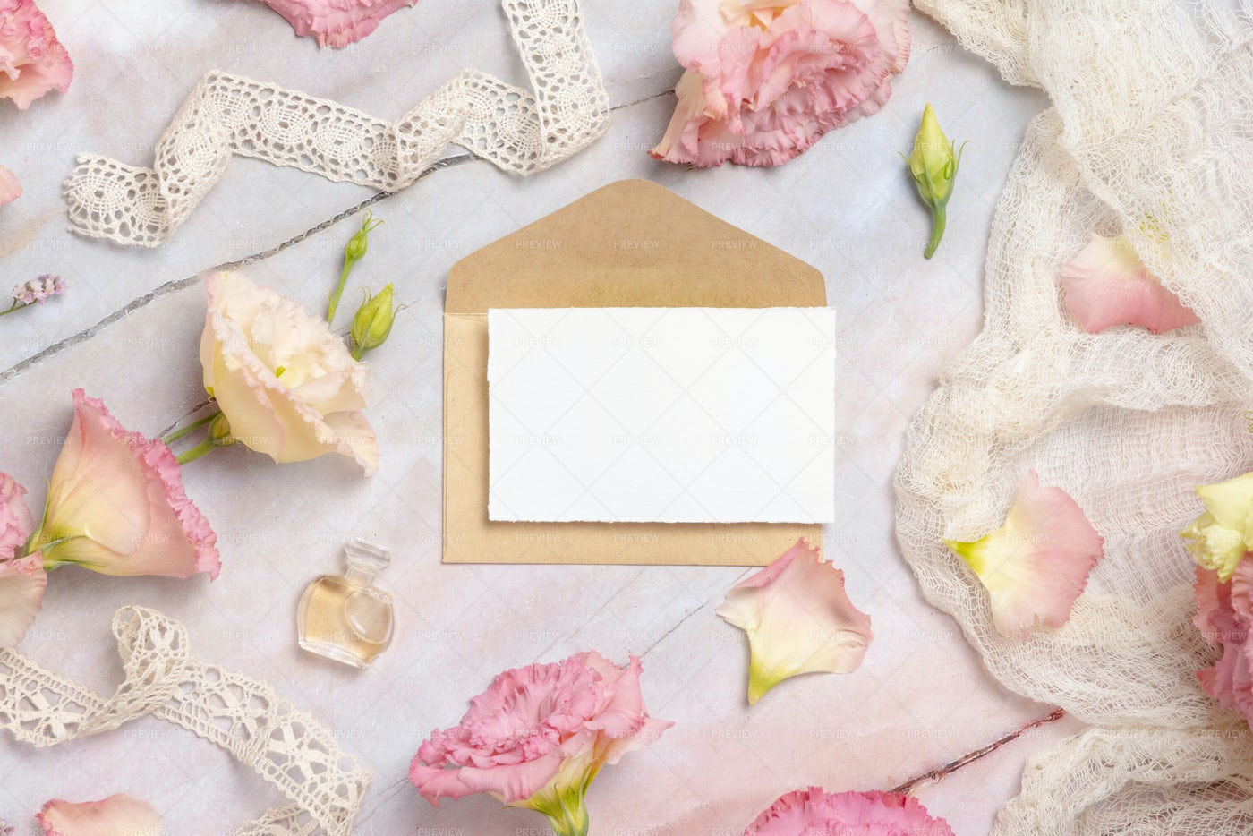 Pink Flowers And A Blank Card: Stock Photos
