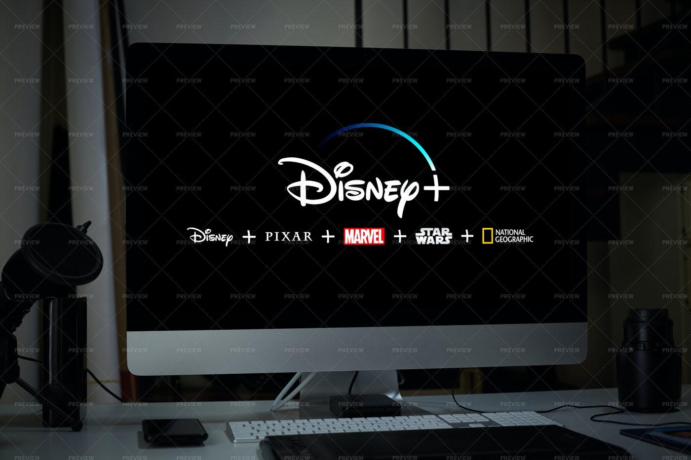 Computer Displaying Disney Plus: Stock Photos