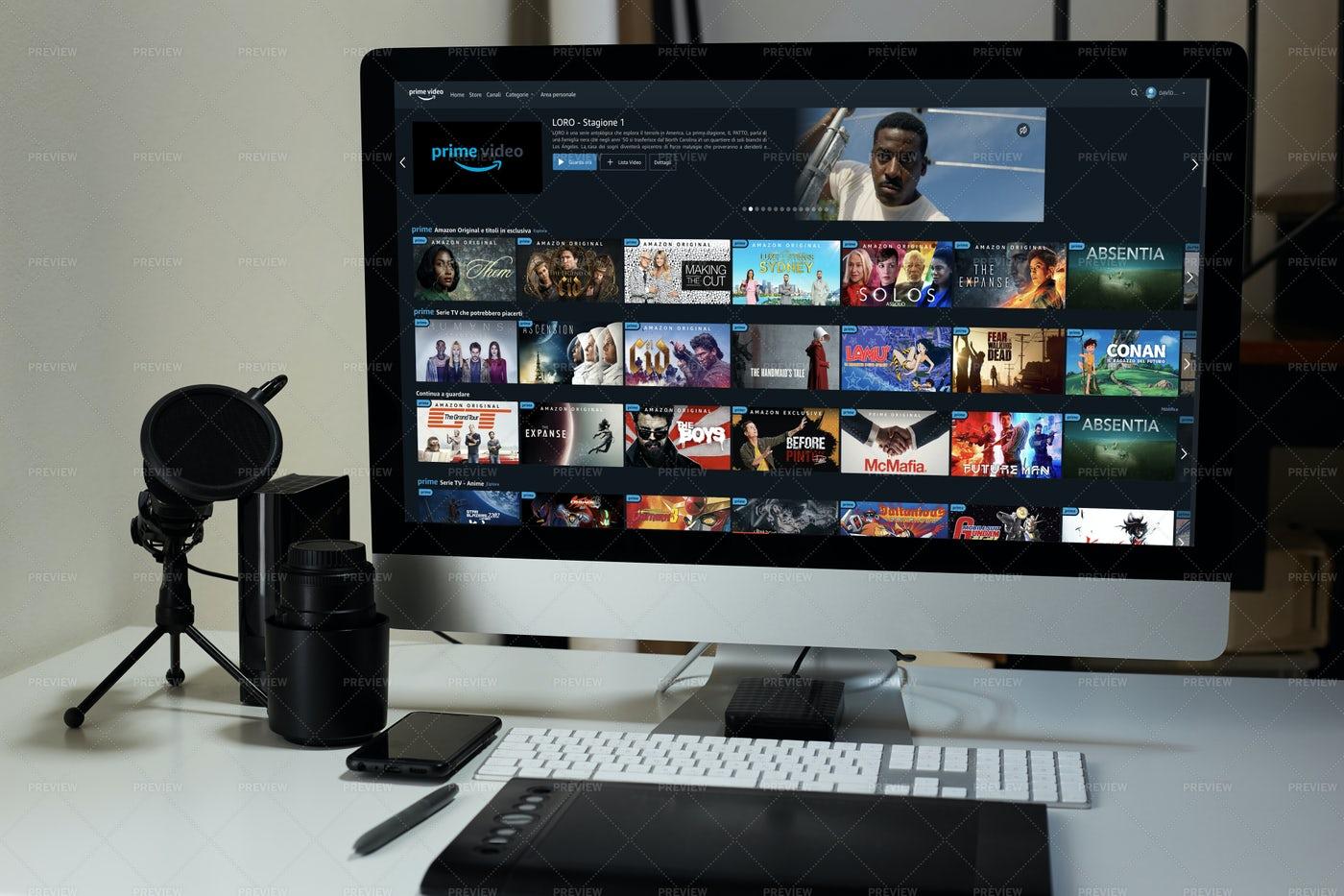 Desktop Computer Displaying Prime Video: Stock Photos