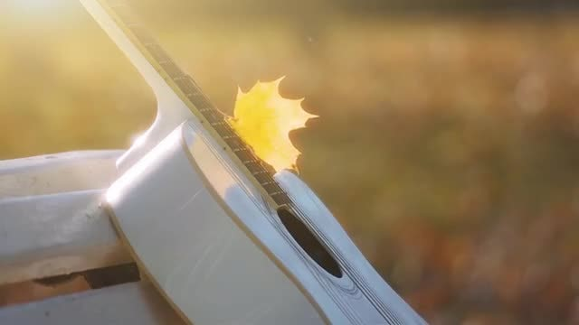 Close Up Shot Of White Guitar : Stock Video