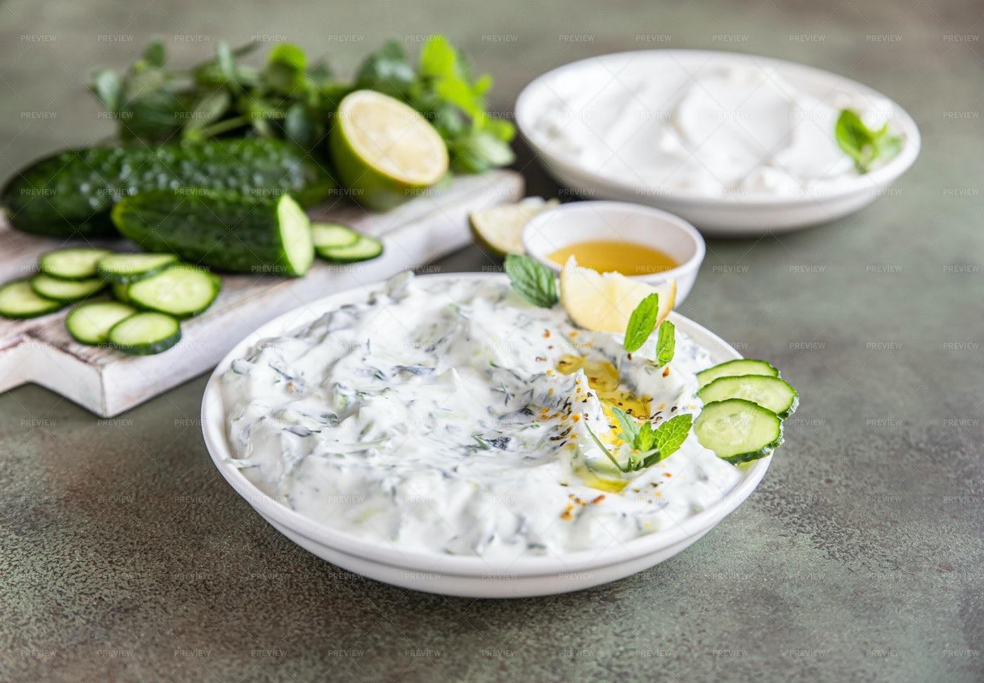 Greek Tzatziki Dip Sauce: Stock Photos