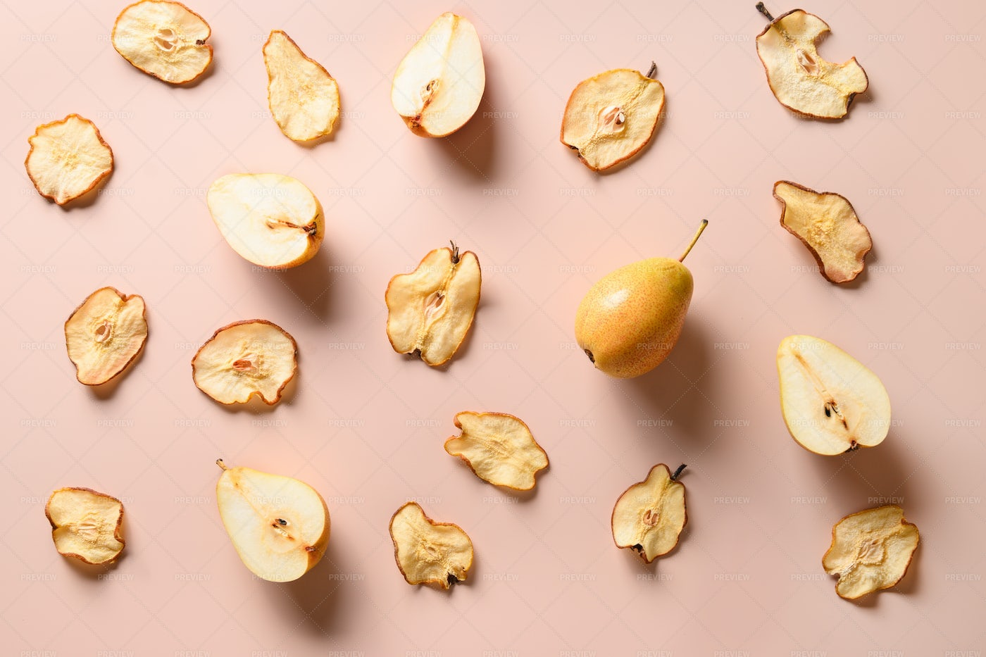 Fruits Pattern Of Pear Chips: Stock Photos
