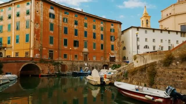 Picturesque Boat Ride - Livorno, Italy: Stock Video