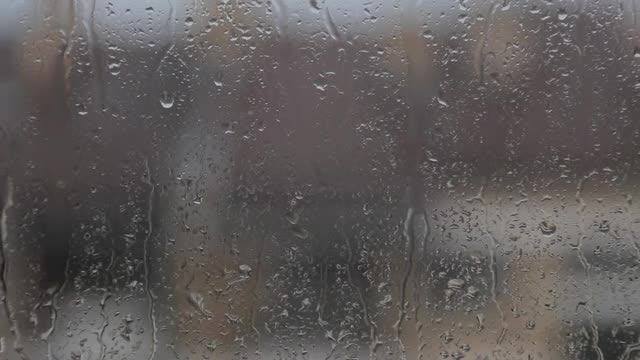 Rain Drops on Window Glass: Stock Video