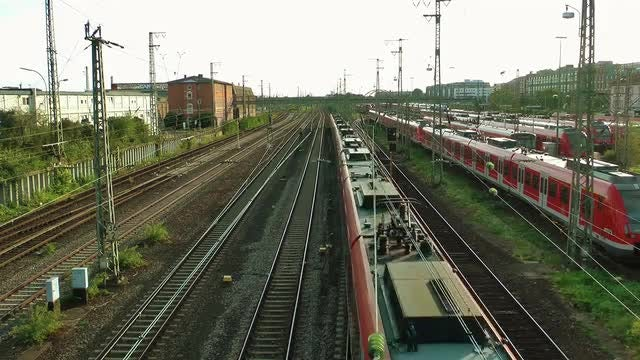 Wide Angle Shot Of Train Station : Stock Video