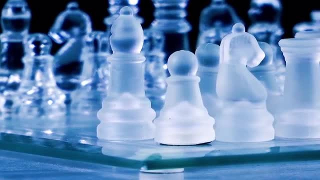 Glass Chess Pieces Rotating: Stock Video