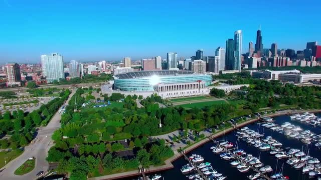 Aerial Shot Of Soldier Field: Stock Video