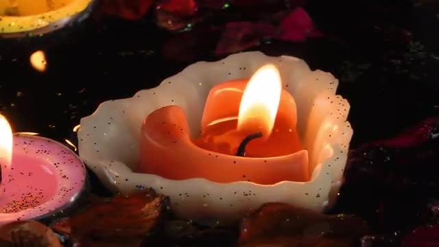 Floating Candles And Dry Leaves: Stock Video
