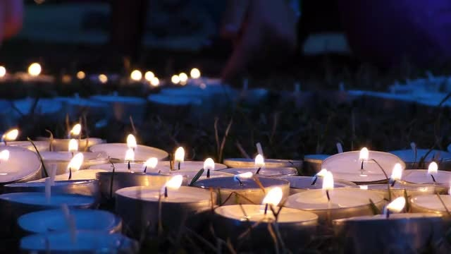 Candles On Grass At Night 1: Stock Video
