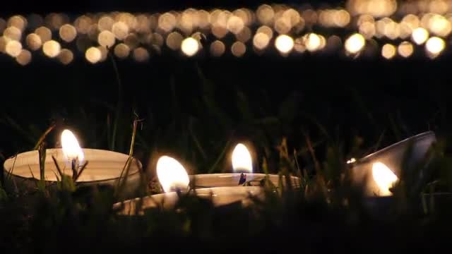 Candles On Grass At Night 2: Stock Video