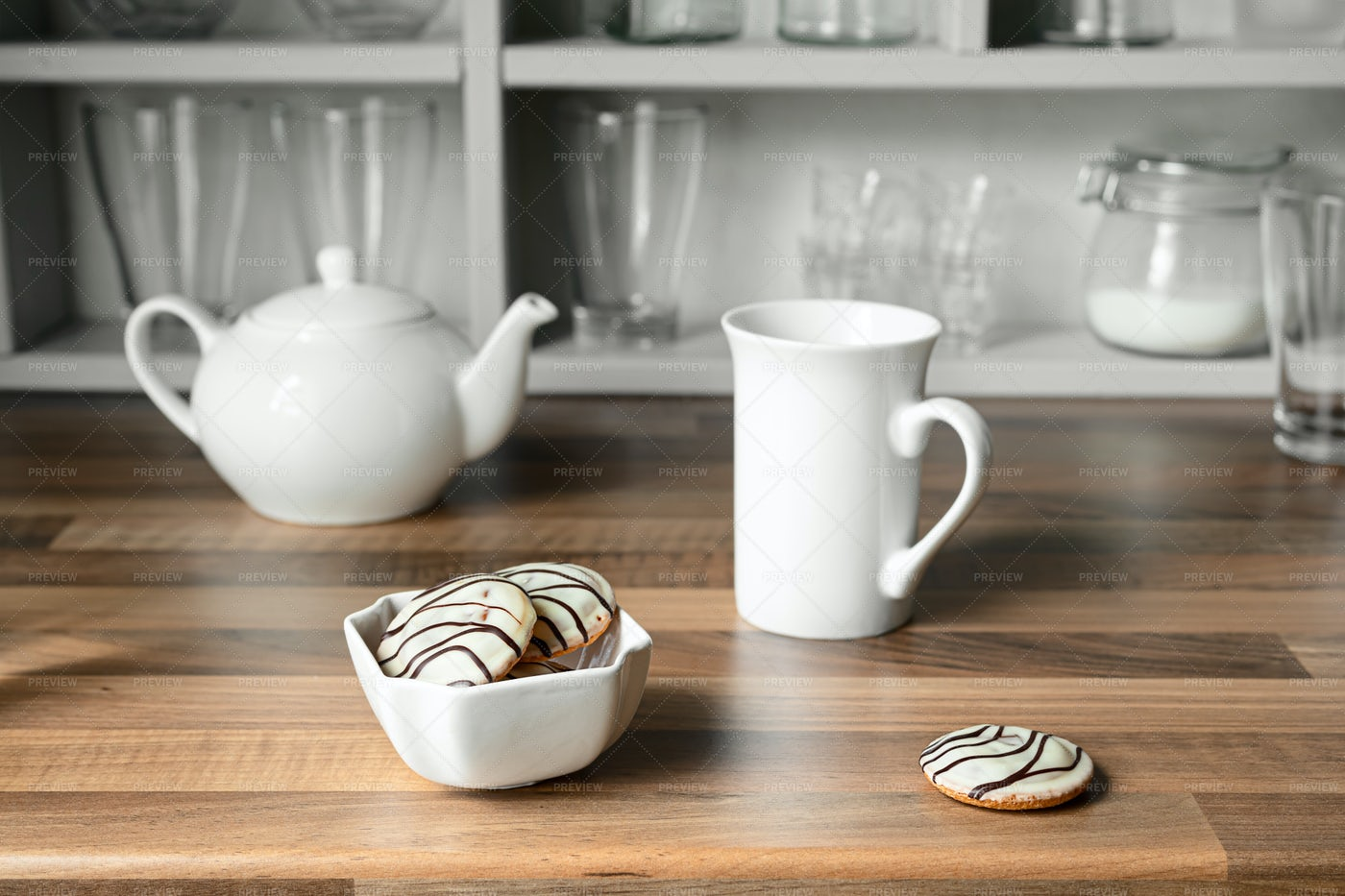 Cups, Teapot And Cookies: Stock Photos