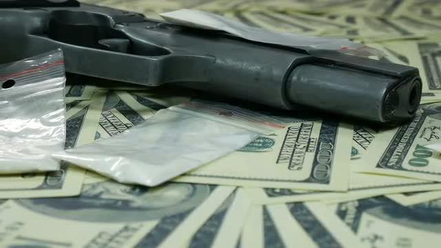 Gun, Drugs And Money: Stock Video