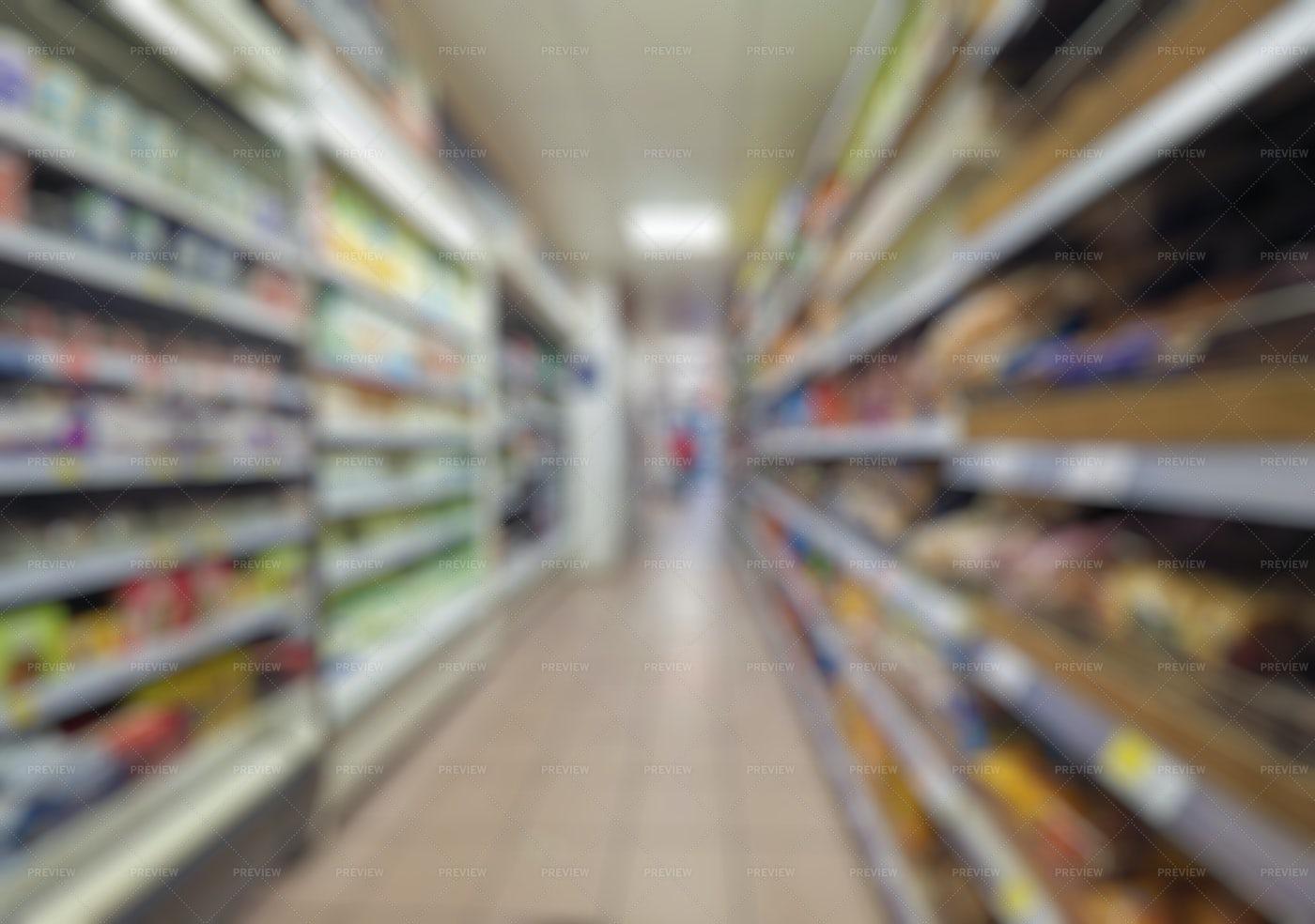 Blurred Supermarket Aisle: Stock Photos