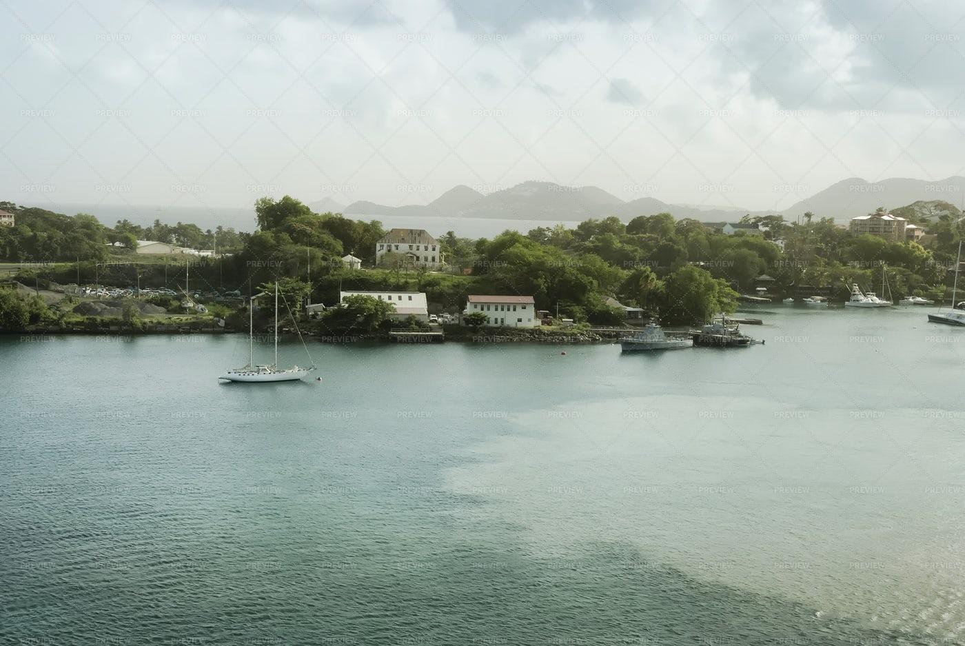 Coastal View Of Saint Lucia: Stock Photos