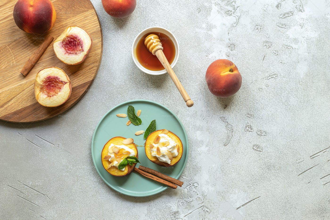 Baked Peaches Snacks: Stock Photos