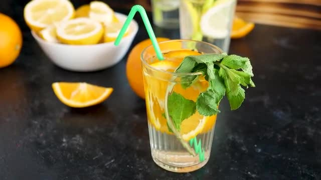Homemade Orangeade With Mint: Stock Video