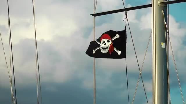 Pirate Flag Fluttering In Wind: Stock Video